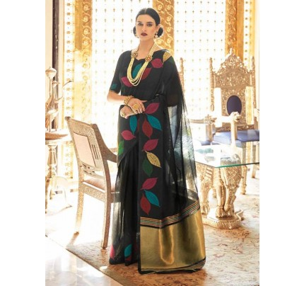 Beautiful Look Black Color Pure Linen Saree