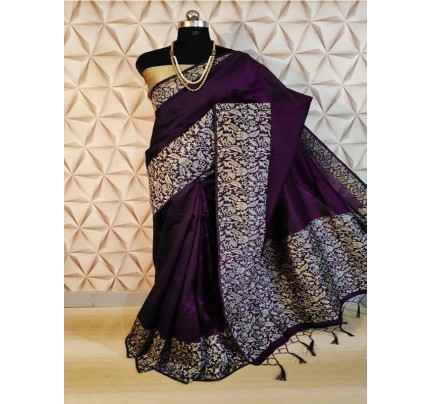 New Eye Catcher Purple Color Raw Silk Saree With mutli color border