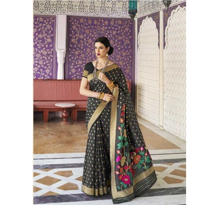 Elegance Look Black Colour Handloom Silk Weaving Saree