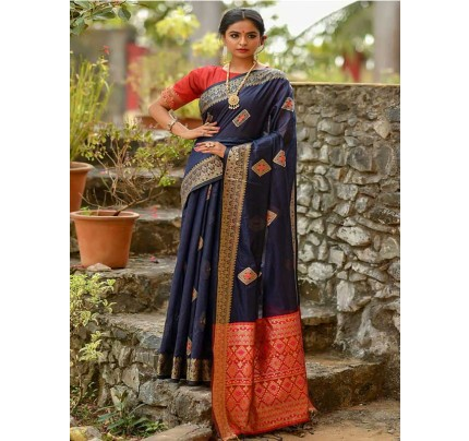 Elegance Look Blue Colour Handloom Cotton Weaving Woven Patola Pallu Saree