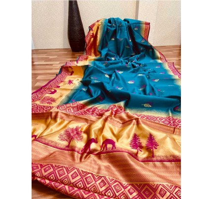 Stunning Look Cyan Colour Soft Banarasi silk weaving saree
