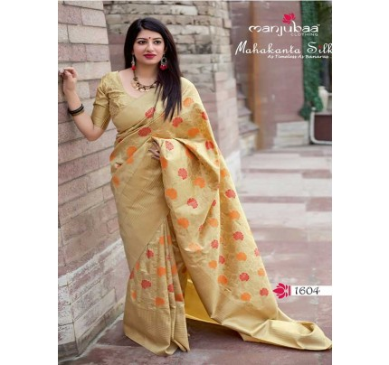 Latest Traditional Look Cream Color Pure Jamdani Silk with Minakari Weaving Saree