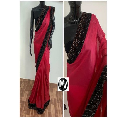 Wedding Season Pink color Rangoli Silk Fabric with machine stone diamond work Saree
