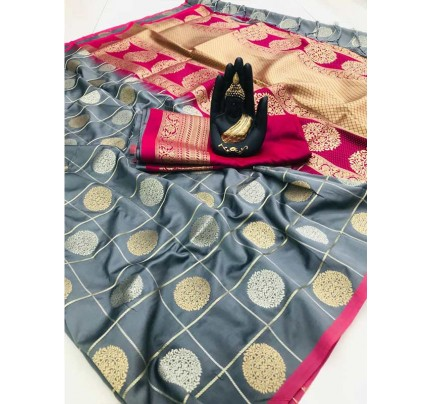 Stylish Look Grey Colour Soft Silk with silver & gold zari weaving work saree