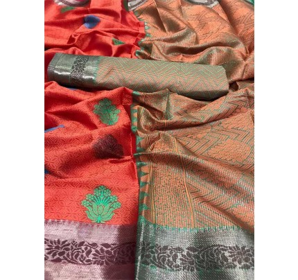 Graceful combination Red  Color Emboss Silk Saree