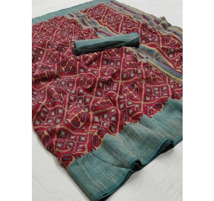 Wedding Look Multi Color Pure Linen Silk Printed Saree