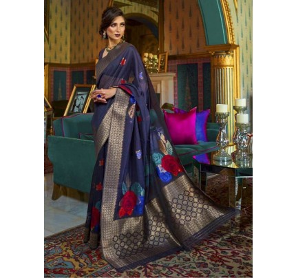 New Eye Catcher Blue Color Pure Soft Silk weaving Saree