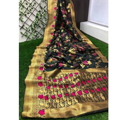 Stunning Look Black Colour Pure Banarasi Soft Silk Saree With RICH Zari Pallu