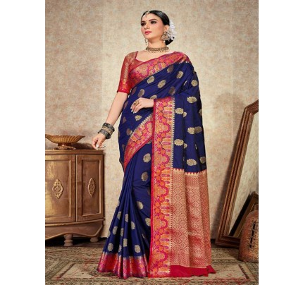 Wedding Designer Blue   Color pure  soft silk weaving Saree
