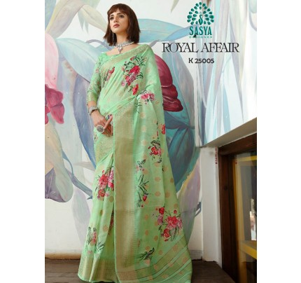 Stunning Look Green Color Pure Cotton Printed Saree with Jacquard weaving Border