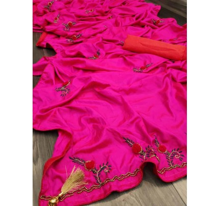 Graceful combination for Wedding Look Pink Sana Silk Saree hand work with piping