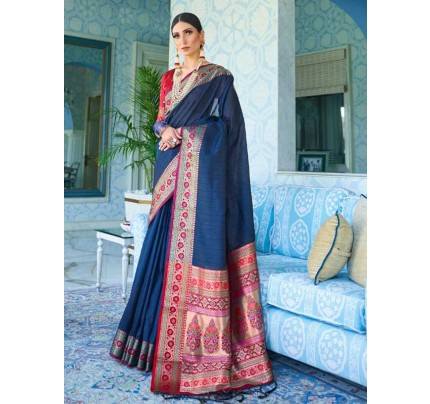 Wedding Designer Blue Color Pure Silk weaving Saree