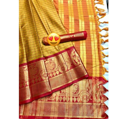 Elegance Look Gold Colored Pure Silk Cotton Saree