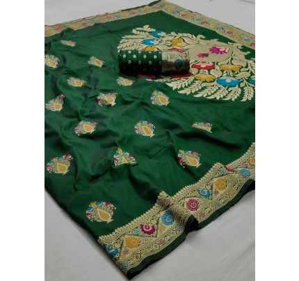 New Eye Catcher Green Color Soft Weaving Silk With Exclusive Meena Work Saree