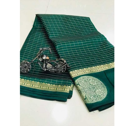 Stunning Green Color Soft Linen Silk Saree