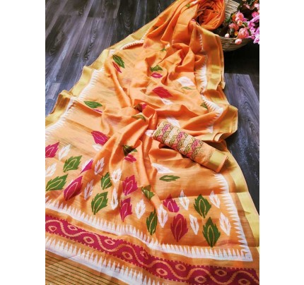 Elegance Look Multi Colored Cotton Silver Zari Patta Saree