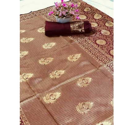 Special Edition Maroon Color Banarasi Silk minakari weaving work Saree