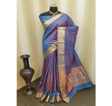 Classic Look Blue Color Satin Silk Saree With AllOver weaving work