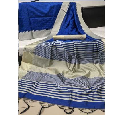 Beautiful Blue Colour Handloom Raw Silk Saree With Embroidered Cut Work All Over