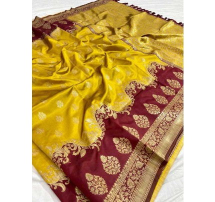 Wedding Look Yellow color Pure Jacquard Fabrics With Resham Zari Work Saree