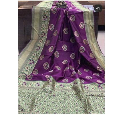 Special Edition Purple Color Banarasi Silk Minakari Weaving Work Saree