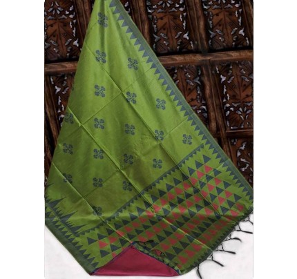 Beautiful Green Handloom Raw Silk Weaving Saree With All Over Resham Weaving