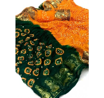 Design Green Color  Cotton  Base Bandhani  Silk Saree