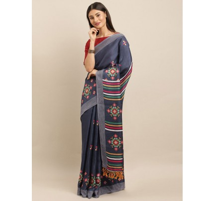 Traditional Look Blue Colour Jute Silk Printed Ikat Saree