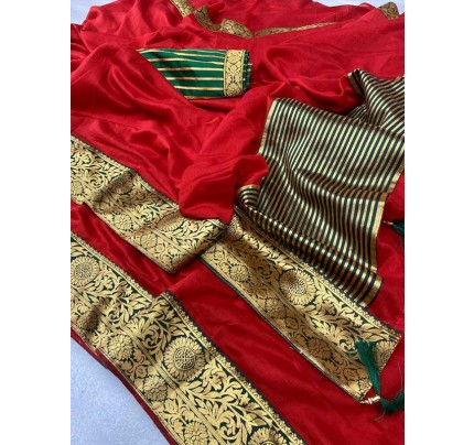 Stylish Look Red Colour Mogha Silk Saree With a Weaving Border Concept Saree