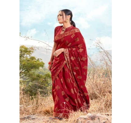 New Trending Red Colour Soft Cotton Weaving Saree