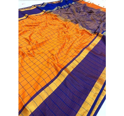 Wedding Designer Orange Color Pure Soft Silk Upada Saree