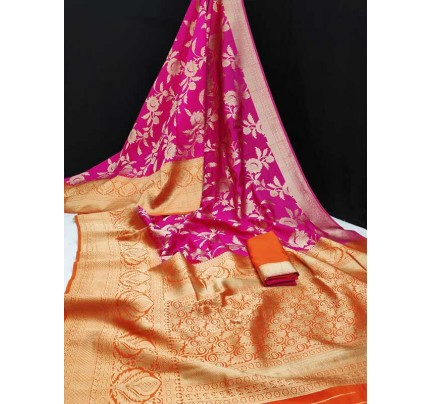Stunning Look Pink Colour Banasari Katan Pattu Silk Saree With Rich Zari Woven Pallu