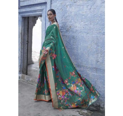 New Trending Green Colour Soft Cotton With Mina Weaving Saree