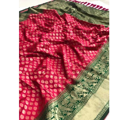 Festival Look Multi Colour  Pure Jacquard Resham Zari Work Vibrant 2 Colours Saree