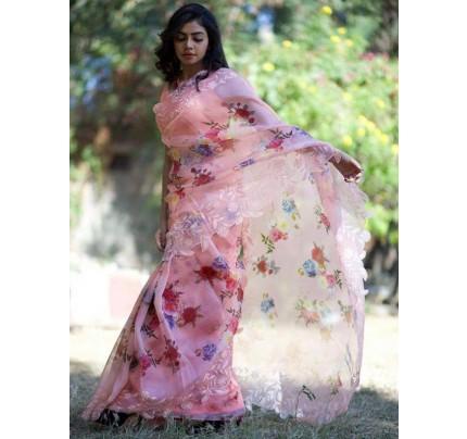 Beautiful Organza Printed Saree with Banglory SIlk Blouse