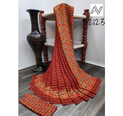 Eye-Catching Look Multi color Viscose Lining GeorgettePrinted Saree