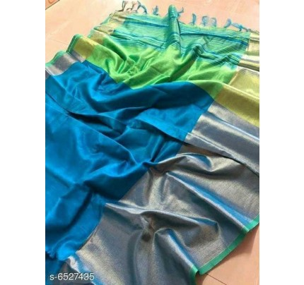 SkyBlue Colour Raw Silk Saree With Contrast Pallu And Blouse Piece