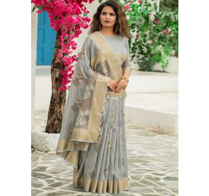 New Eye Catcher Grey Color Soft Mulberry Silk Weaving Saree with Exclusive zari woven