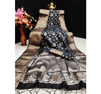 New Eye Catcher Black  Color Mysore Silk Saree With Silver And Gold Zari Weaves