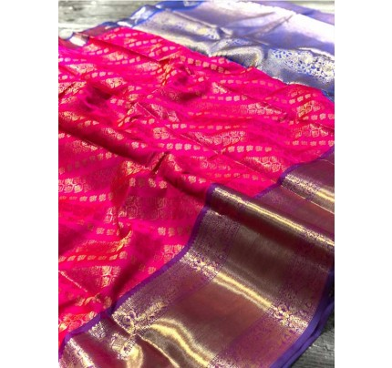 Attractive Look Pink  Colour  Banarasi Silk With Beautiful Zari  Work Saree