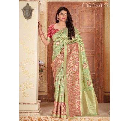 Wedding Designer Green Color Pure Silk weaving Saree