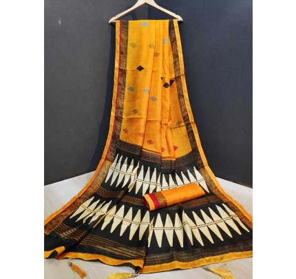 Stunning Yellow Color Linen Silk With Lace border And Printed  Blouse Saree