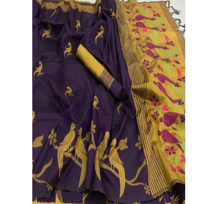 Beautiful Purple Handloom Raw Silk Weaving Saree
