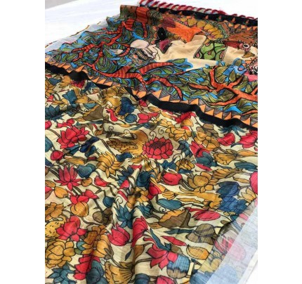 Traditional Look Multi Color Soft Linen Saree With Digital Printed and weaving border