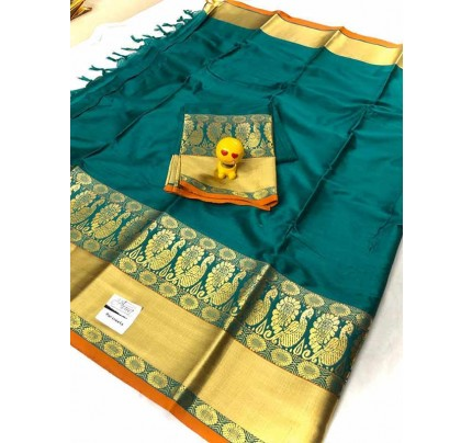 Stunning Cyan  Color Pure Cotton Silk Saree