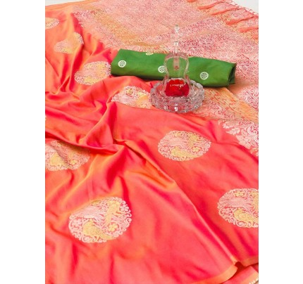 Stunning Look Orange Colour Banarasi silk weaving saree with  reach pallu