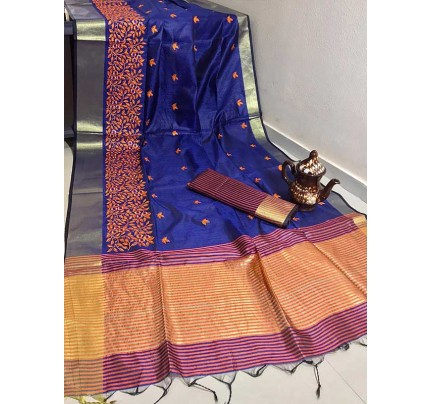 Graceful Look Blue Color Crystal Silk Saree with Embroidered work