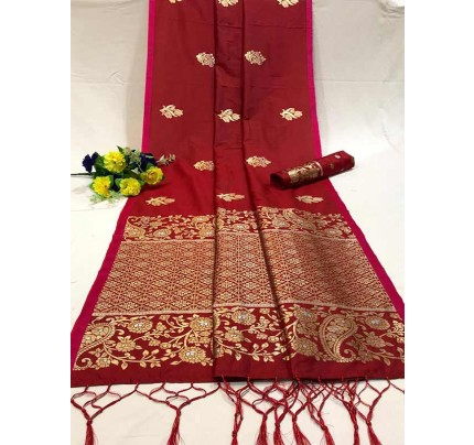 Attractive Look Red Colour Soft Banarasi Silk Saree with Silver and Gold Zari weaving Pallu