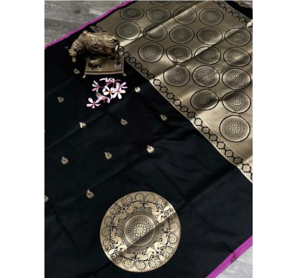 Stunning Look Black Color Banarsi Silk Fabric Saree