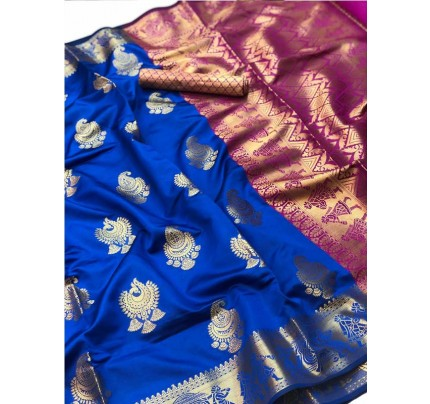 Pretty Look Blue Color Banarasi Silk Saree with Zari work